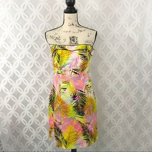 H&M Strapless Cotton Dress in Neon Tropical Print